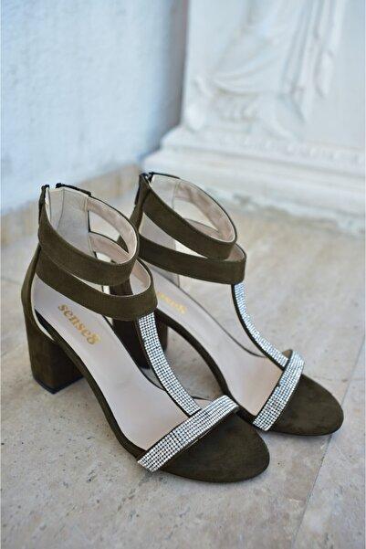 Sense8 Kadın Haki Taş Detaylı Topuklu Ayakkabı