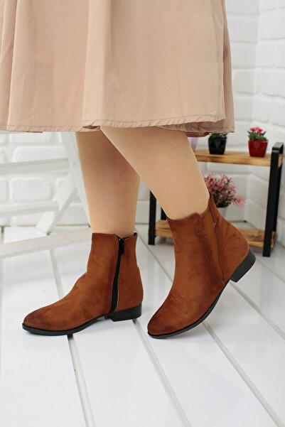Ayakland Kadın Kahverengi  8284-2012 Günlük Termo Fermuarlı Süet Bot Ayakkabı