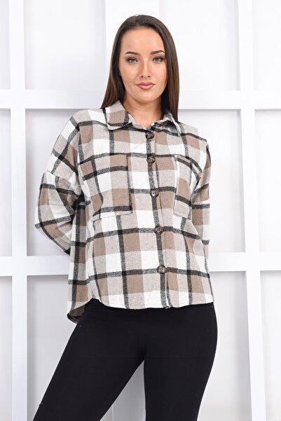 İroni Kadın Bej Cepli Oduncu Gömlek