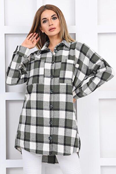 İroni Kadın Haki Cepli Oduncu Uzun Kollu Gömlek