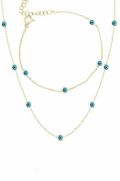 Trend Silver Gümüş Yaldızlı Mavi Mineli Nazarlı Tiffany Kolye Ve Bileklik Takım Seti