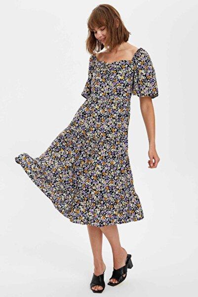 DeFacto Kadın Purple Çiçek Desenli Kısa Kollu Viskoz Elbise S8333AZ20HS