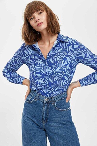 DeFacto Kadın Blue Desenli Uzun Kollu Gömlek S8704AZ20HS