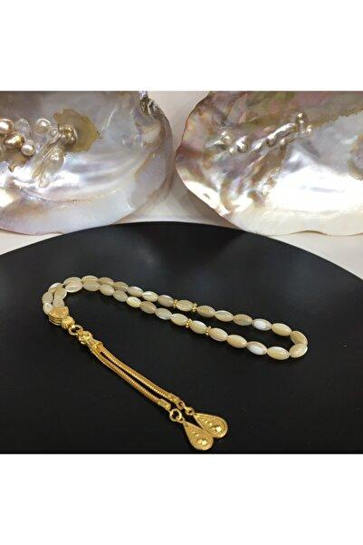 HAS İNCİ 925 Ayar Gümüş Altın Yaldızlı Sedef Taşı Tespih Tc10000000257