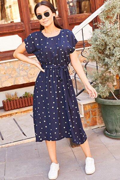 armonika Kadın Lacivert Yıldız Desenli Beli Bağlamalı Elbise Arm-20Y001114