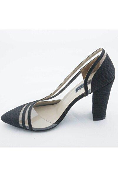 Akel Kadın Siyah Şeffaf Bantlı Stiletto