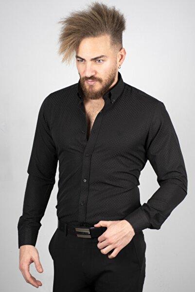 DeepSEA Siyah Erkek Slim Fit Kabartma Desenli Gömlek 2005171