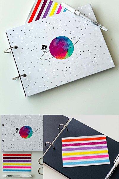 Patladı Gitti Satürnlü Kız Tasarımlı Fotoğraf Albümü Anı Defteri Beyaz Kalem Ve Yapıştırıcı