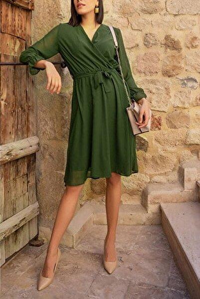 Kadın Haki Kruvaze Yaka Şifon Elbise