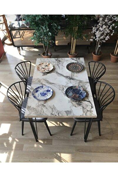 Çelik Beyaz Mermer Masa+4 Omega Sandalye Gri