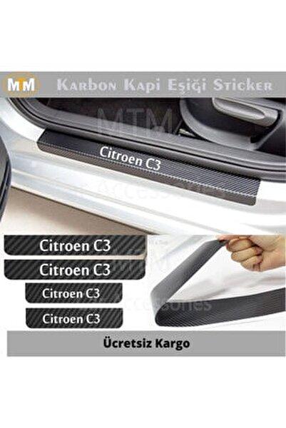 Citroen C3 Karbon Kapı Eşiği Sticker (4 Adet)
