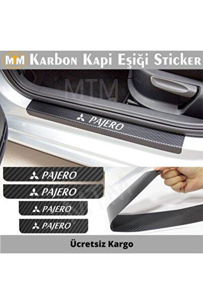Adel Mitsubishi Pajero Karbon Kapı Eşiği Sticker (4 Adet)