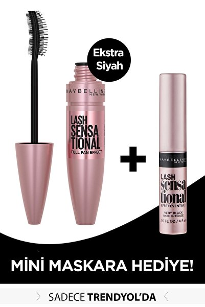 Maybelline New York Lash Sensational Intense Black Maskara 9.5 ml + Mini Lash Sensational Siyah Maskara 4.5 ml 301717252
