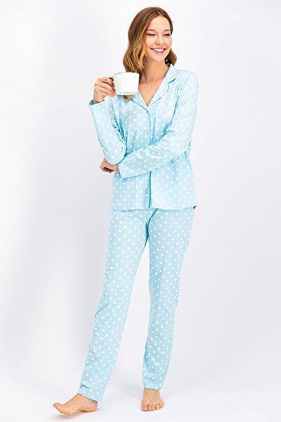 Arnetta Açık Mavi Düğmeli Kadın Gömlek Pijama Takımı