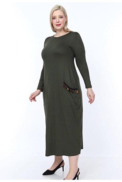 Şirin Butik Kadın Cepleri Püsküllü Uzun Kollu Viskon Haki Elbise