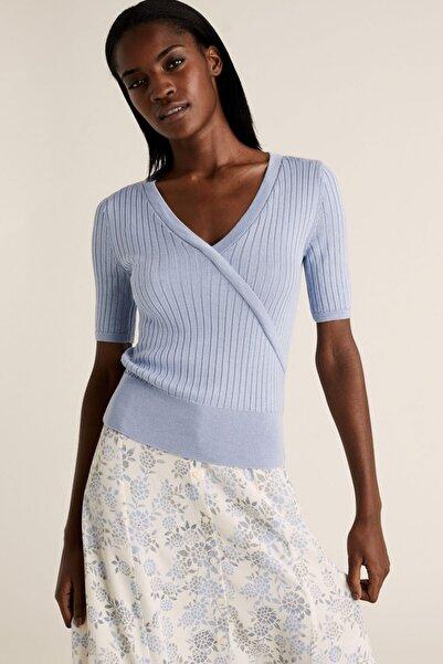 Marks & Spencer Kadın Mavi Triko V Yaka Bluz T38002971