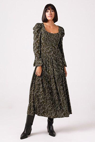Gusto Kadın Haki Kare Yaka Elbise
