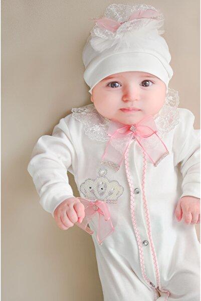 Lilax Işıltılı Kral Taçlı Güpürlü Kız Bebek Set