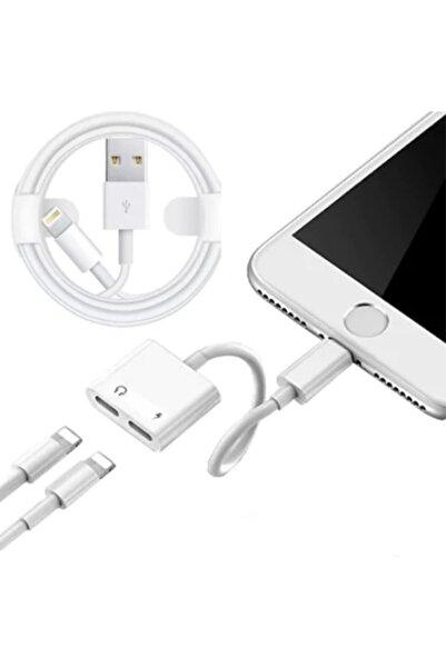 Techmaster Iphone Ipad Lightning 2in1 Şarj + Kulaklık Dönüştürücü 2 Taraf Lightning + Iphone Kablo Hediye Set