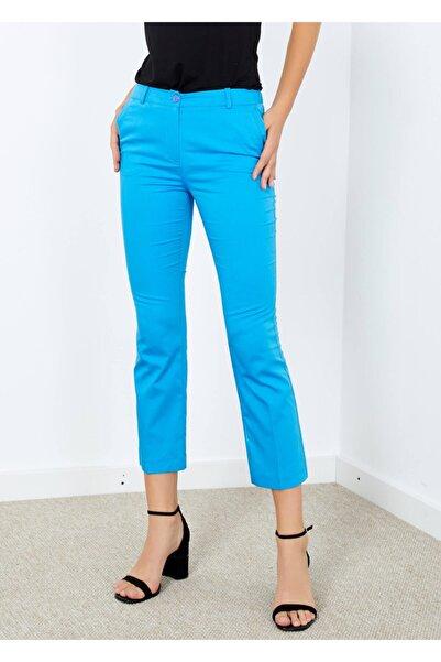 Adze Kadın Mavi Cepli Pantolon