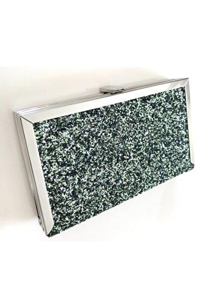 Abiye Butik Çanta Yeşil Pullu Metal Corner Model Abiye Çanta