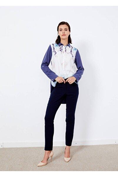 Adze Kadın Lacivert Boru Paça Kumaş Pantolon