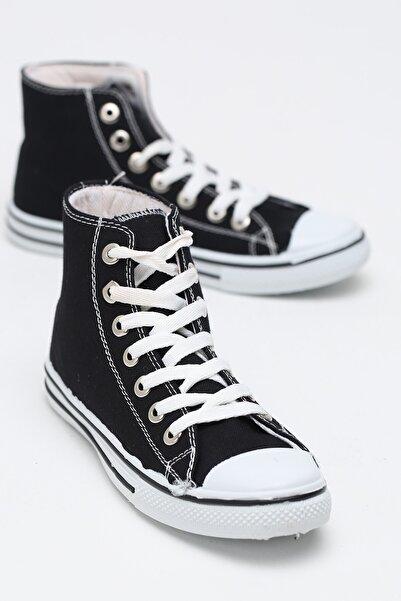 Ayakkabı Modası Kadın Siyah Keten Uzun Convers