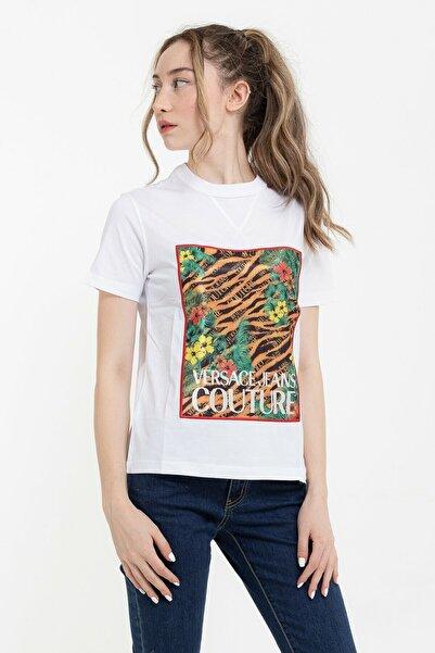 VERSACE JEANS COUTURE Desenli %100 Pamuklu Kadın T-shirt