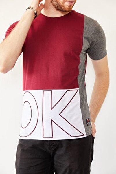 Erkek Bordo & Beyaz Baskılı T-shirt 0yxe1-44021-05
