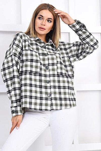 İroni Kadın Haki Cepli Oduncu Gömlek