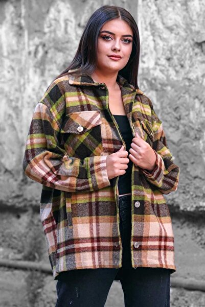 Madmext Kadın Kahverengi Oversize Oduncu Gömlek Mg042