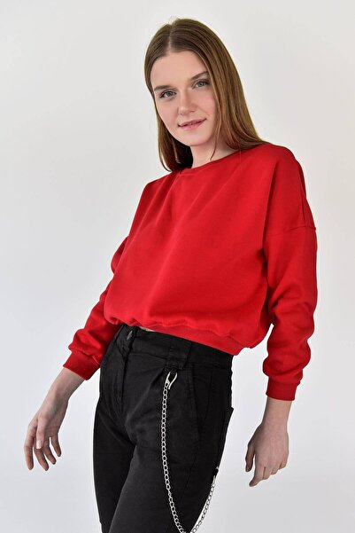 Addax Kadın Kırmızı Ekleme Kol Sweat S0722 - U12 - U13