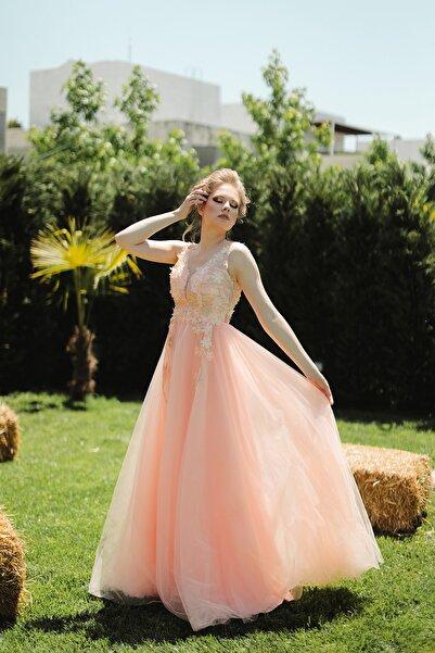 minel aşk Kadın Somon Prenses Abiye Elbise