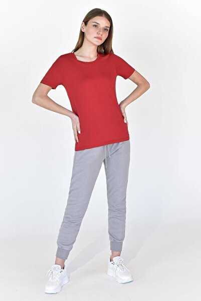 Addax Kadın Kırmızı Bisiklet Yaka Basic Tişört P0756 - W10 - W11