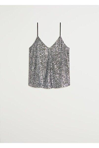 MANGO Woman Kadın Gümüş Payetli Üst Bluz