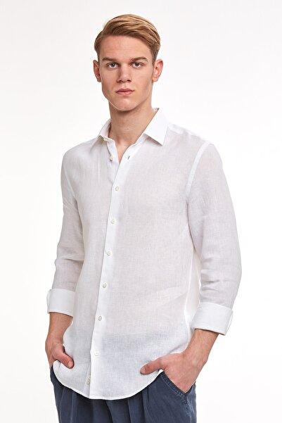 Hemington Erkek Beyaz Saf Keten Gömlek