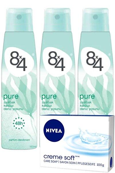 8x4 Pure Pudrasız Unisex Deodorant Sprey 150 ml X 3 Adet Nivea Sabun Hediyeli