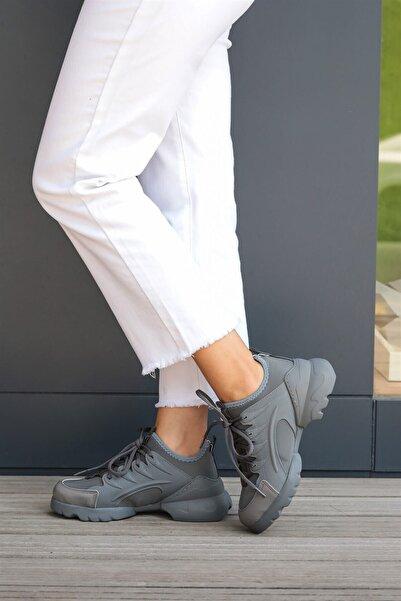Mio Gusto Kadın Gri Sneaker