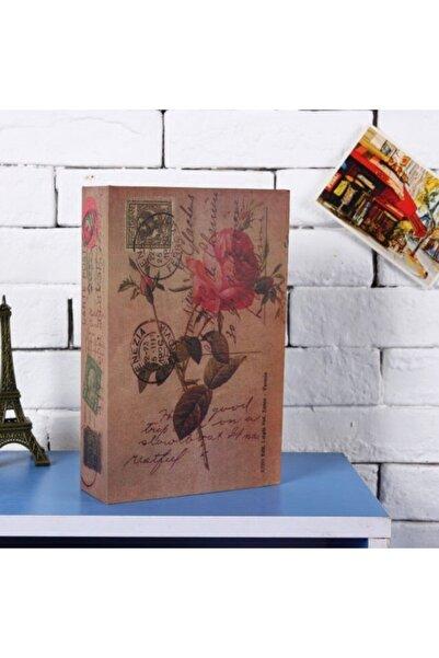 Hormiga Kartpostal Gül Desenli Kitap Şeklinde Gizli Kasa Anahtar Kilitli Sözlük Para Kumbarası