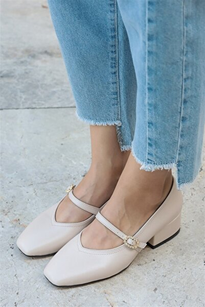 Mio Gusto Julia Bej Taşlı Topuklu Ayakkabı