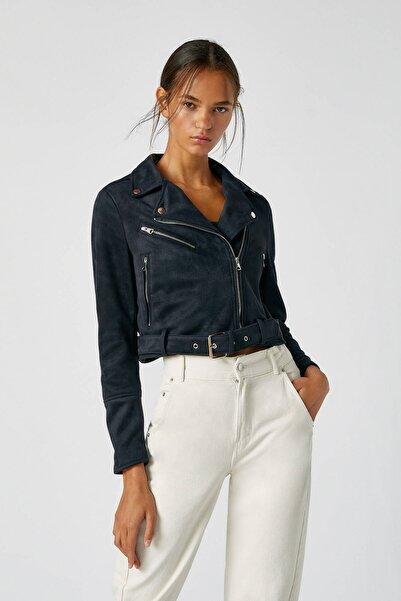 Kadın Siyah Nubuk Biker Ceket 05715301
