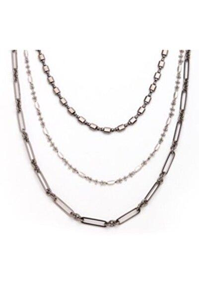 Mon Reve 3 Sıra Zincir Gümüş Kolye
