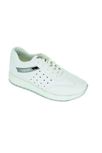 DUNLOP Kadın Bağcıklı Beyaz Kalın Taban Sneaker