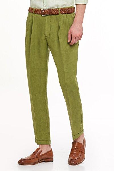 Hemington Erkek Yeşil Saf Keten Pileli Pantolon