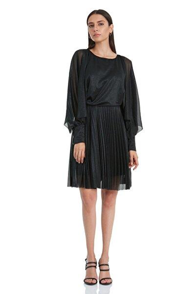 Keikei Kadın Siyah Tül Uzun Kol Kısa Elbise