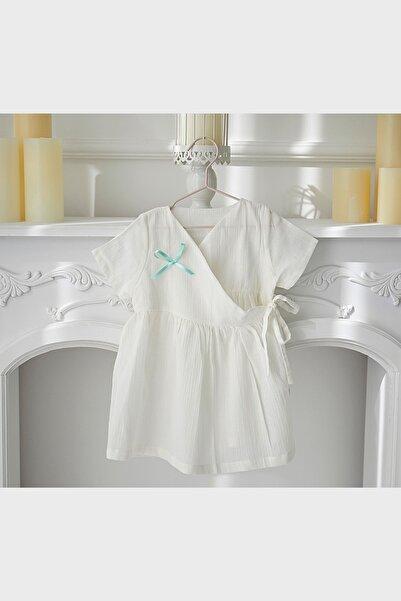 BeyzBaby Çocuk Beyaz Beyz Anvelopy Şile Bezi Elbise