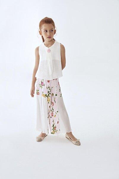 Lia Lea Kız Çocuk Beyaz Çiçekli Pantolon