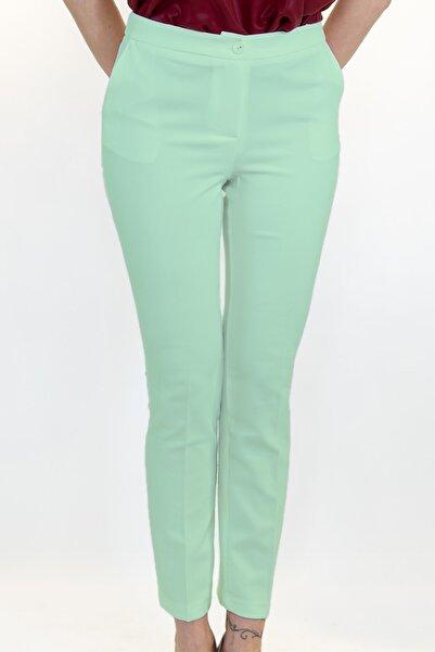 Lefon Kadın Yeşil Cepli Kumaş Pantolon
