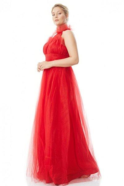 Keikei Kadın Kırmızı Büyük Beden Tül Kolsuz Uzun Elbise