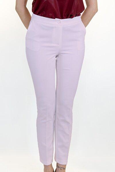 Lefon Kadın Pembe Cepli Kumaş Pantolon